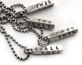This Too Shall Pass Sterling Silver Stamped Square Bar Charm Pendant Necklace Choose Your Chain Length