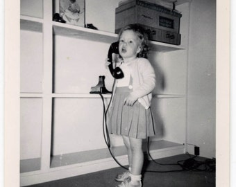 vintage photo 1949 Snapshot Little Girl Talking on Old Fashioned Telephone Mid Century