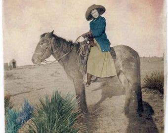 vintage photograph print Cowgirl w Her Gun Riding her Horse