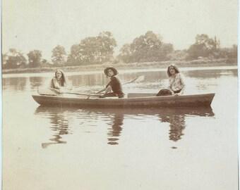 vintage photo 1908 Klem Brother Sister Friend Boating Owego NY Corncob Pipe