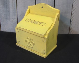 Receipe Box Yellow Distressed Vintage Wooden  Cottage Bungalow Mid Century