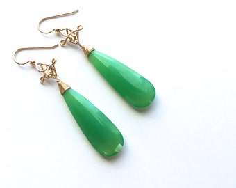 Salome - Chrysoprase Long 14k Gold Filled Earrings