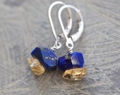 Reserved for Lea: Lapis Lazuli, Citrine, and Sterling Silver Earrings