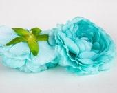 Silk Artificial Flower - Aqua Mint Blue Ranunculus - 3.5 inches - ITEM 0287