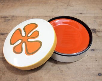 Fun retro Lacquer box small dishes coaster set Lacquerware Orange Round new Trends Inc Japan Has Label