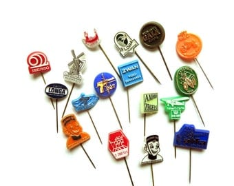 17 Vintage 1960's Plastic Stick Pins - Instant Collection - Lapel Pin Lot - James Bond 007 Dutch Collectibles