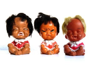 3 Vintage Rubber Baby Dolls, 70s Sassy Emotion Dolls of all Nations, Crying Ugly Dolls, Crazy Hair Don't Care, Small Brown Skinned Doll Lot