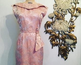 Fall sale RESERVED 1950s dress brocade dress cocktail dress size large mad med dress vintage dress pink dress 38 bust