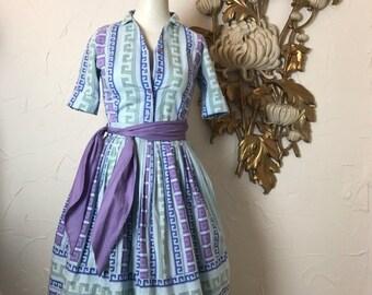 Fall sale 1950s dress girls dress 2 piece set cotton dress set size xx small blouse and skirt 22 waist vintage dress