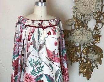 1970s blouse vintage blouse novelty print size medium butterfly print vintage tunic 70s shirt
