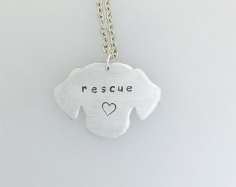 Rescue Dog with Heart Head necklace-Dog Lover-Pet Memorial-Dog Rescue-Personalized-Vegan Necklace-Eco Friendly-Dog Necklace