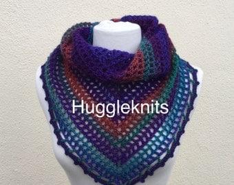 Warm Russian Winter Heather Shawlette / Wrap with shawl pin