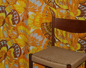 Mod Abstract yellow butterfly fabric for mid century Cold War era home dec