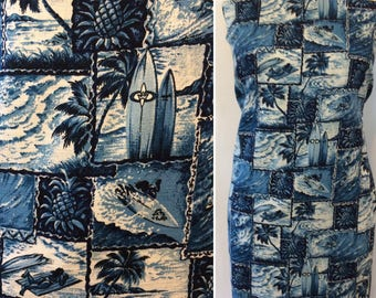 3 yds plus VINTAGE tropical HAWAIIAN fabric Tiki Luau FABRIC Trendtex
