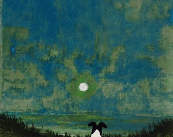 Smooth Fox Terrier Dog original art painting by Todd Young MOON RISE