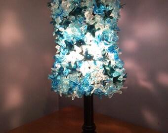 Lampwork light fixture, glass light fixture, light fixture, glass home decor, turquoise light fixture SRA