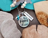 TW-5 Eating Disorder Recovery Jewelry Awareness Necklace Addiction Recovery Jewelry Gift For Her No One Fights Alone Necklace