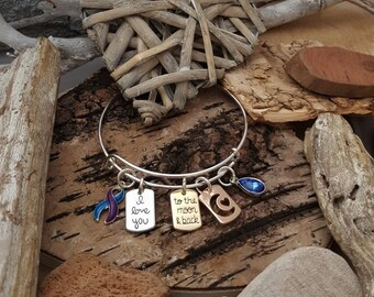 WH-1 Brain Cancer Bracelet Brain Tumor Awareness Jewelry  I Love You To The Moon & Back Birthstone Bracelet Gift For Her Diabetes Parkinsons