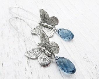 butterfly earrings, dangle earrings, drop earrings, briolette earrings, denim blue,boho earrings, bohemian jewelry nature inspired