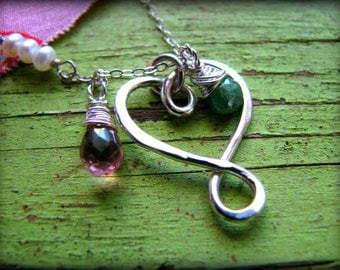 Small Infinity Heart and Two 2 Birthstones Necklace -Small Heart - Gift Birthday Graduation Mother Wife Fiancee Soulmate Best Friend Sister