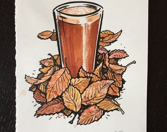 Autumnal Brews original ink and watercolor painting