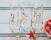 Rose Gold Bridesmaid Gift, Personalized Stemless Champagne Flutes,Bridesmaid Proposal, Bridesmaid Box,  Fizzkiss Rose Gold Glass