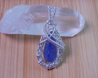Blue Kyanite Drop Pendant Wire Wrapped in Argentium Silver Wire Wrapped Jewelry Handmade Handcrafted Boho Jewelry Wire Weave