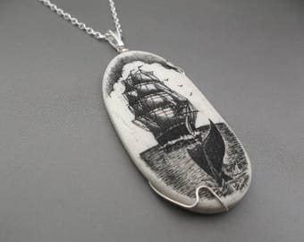 Scrimshaw Pendant Scrimshaw Necklace Wire Wrapped  Nautical Design Hand Etched Cow Bone Silver Cable Chain Ship and Tail Black and White