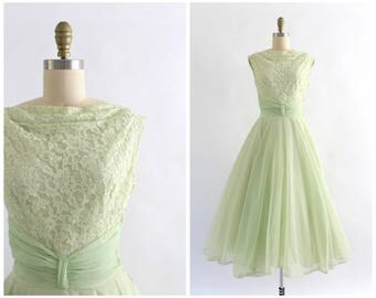 vintage 1950s fred perlberg light green lace and sequin bodice party dress | 50s green boat neck prom dress | x-small