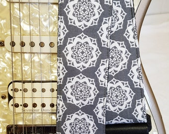 gray boho medalions hipster guitar strap