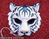 READY TO SHIP Astral Tiger #2 Leather Mask... cat costume galaxy stars masquerade burning man mardi gras halloween festival