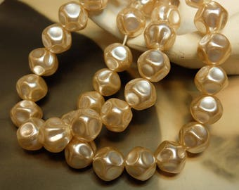 Vintage 12mm Baroque Glass Pearl Bead Strand 30 beads