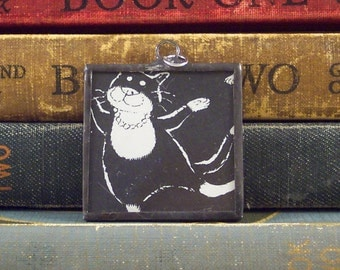 Edward Gorey and T S Eliot -  Jellicle Cat Soldered Pendant Literary Charm - Black and White Tuxedo Cat with Vintage Book Illustration