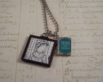Jane Austen Charm Necklace with Edward Gorey Book Illustration - Pride and Prejudice Necklace - Literary Jewelry - Bibliophile Book Necklace