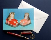 burrowing owls in bumper cars greeting card blank notecard with envelope 4 x 6