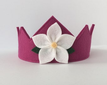 Wool Felt Crown -- Fairy Child crown in 100% merino wool-- berry with white flower