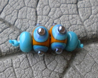Southwest Pair Lampwork Beads by Cherie Sra R114 Flamework Glass Bead Turquoise Orange Blue Silver Glass Dots Spacers Lampwork Earring set