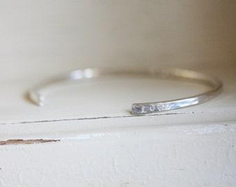 Secret Message Custom Stamped Cuff -- STERLING  SILVER