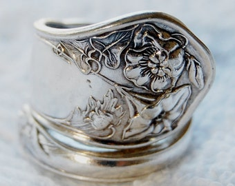 Silver Spoon Ring, Spring Flowers, Size 7-10