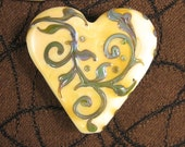Victorian Tapestry Lampwork Heart Focal Bead by Kerribeads