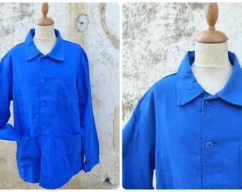 Vintage  1960s French blue faded chore jacket/worker jacket/Bleu de travail