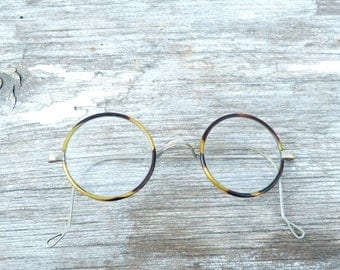 Vintage Antique 1900s/1920s French  faux tortoise round eyeglasses