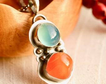 Carnelian Necklace, Blue Chalcedony Pendant, Blue Stone Pendant, Orange Stone, Gift for Her, Handmade Artisan Metalwork, Boho Chic Necklace