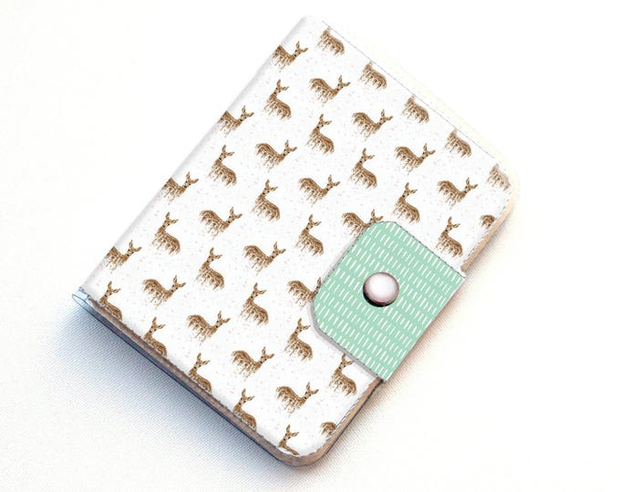 Passport Case - Deers on White / deer, woodland, animal, pretty, travel, wanderlust, adventure seeker, gift, handmade, vinyl, vegan