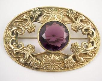 "3"" Art Deco Sash Pin Brooch C clasp"