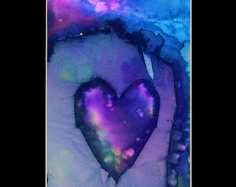 "Original Heart Watercolor Painting in mat, purple,blue,aqua,""Eternal Heart 20"" by Kathy Morton Stanion EBSQ"