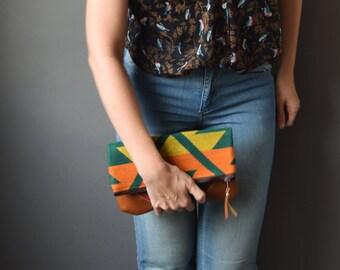 Fold-Over Clutch - Green/Yellow/Orange