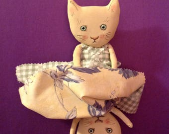 Topsy Turvy cat , ooak art doll,sandy mastroni, whimsical wall art, happy cat