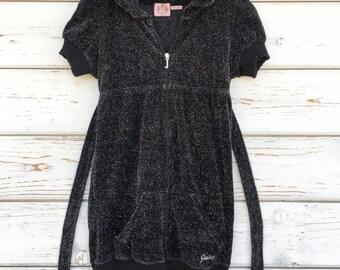 Vintage 90s Juicy Couture sweatshirt,top,fancy,USA made,black,lurex,silver thread,unique,original,zipper,rare,casual,girls,pocket,velvet