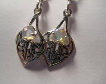 Beautiful Opal  Earrings ... Sterling Silver .. Celtic ...                       A35